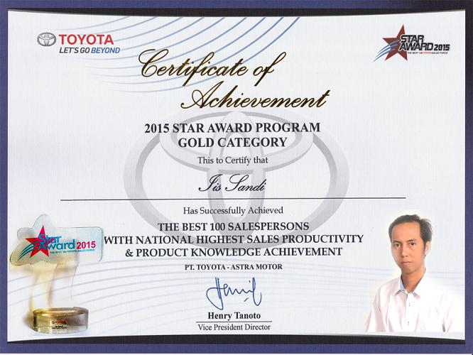 "Sertificate of Achievement ""Toyota Star Award"" 2015"